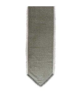 K&K Interiors 72 Inch Green & Tan Diamond Pattern Wool Blend Table Runner