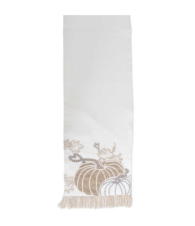 K&K Interiors 72 Inch White Pumpkin Embroidered Table Runner