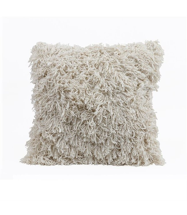 "Bloomingville 24"" Sq Cotton & Rayon Pillow w/ Fringe, Cream"