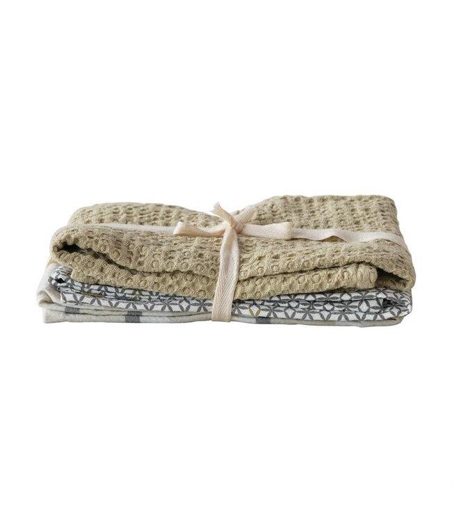 Bloomingville Cotton Tea Towels, Multi Color, Set of 3