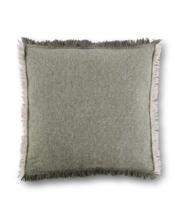 K&K Interiors 18 Inch Green & Tan Diamond Pattern Wool Blend Square Pillow