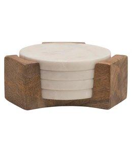 "Bloomingville 5"" Round Marble Coasters w/ Mango Wood Holder, Set of 5"