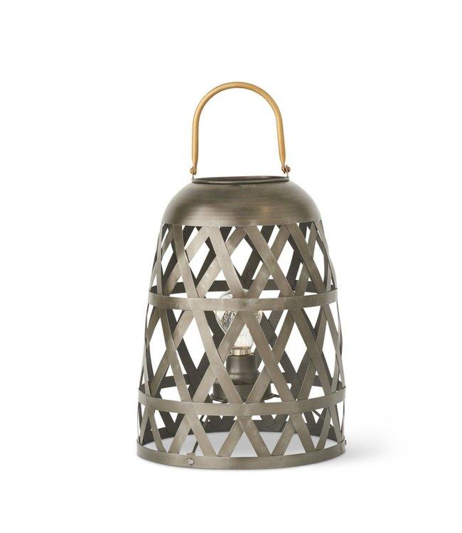 K&K Interiors Dark Metal Diamond Fenced LED Lantern with Gold Handle, Small