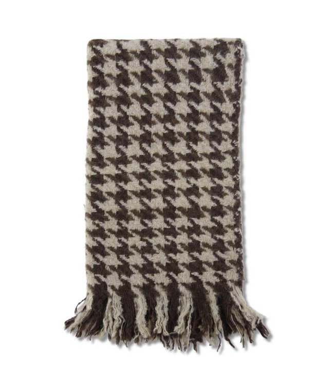 K&K Interiors Brown & Cream Houndstooth Throw Blanket with Fringe