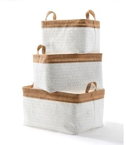 White Lined Woven Basket with Handles, Medium
