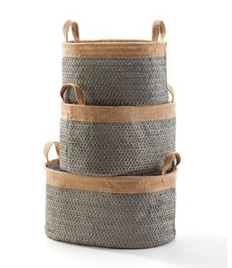 Gray Lined Woven Baskets with Handles, Large