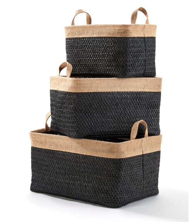 Black Lined Woven Basket with Handles, Medium
