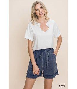 Cotton Bleu Cotton Washed Fraid Short-Navy