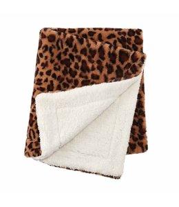 MudPie Leopard Faux Fur Blanket