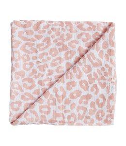 MudPie Mauve Leopard Swaddle Blanket