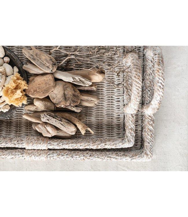Creative Co-Op Decorative Rattan Tray- Large