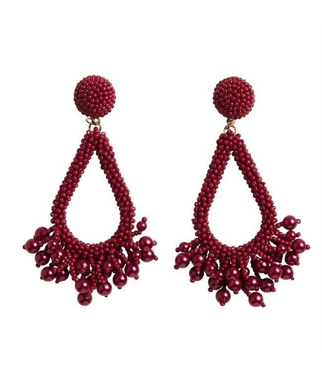 MudPie Red Beaded Teardrop Earrings