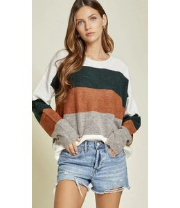Andree Color Block Long Sleeve Sweater Cream/Olive