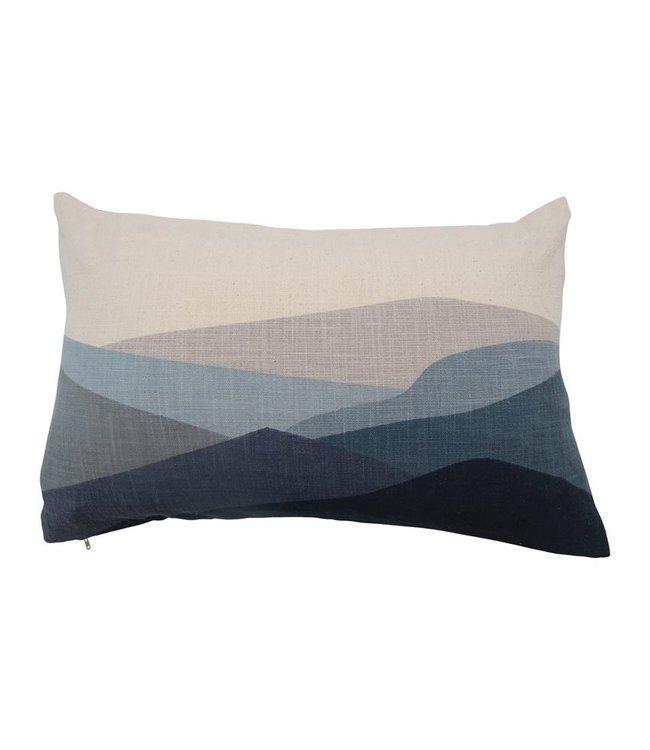 Bloomingville Cotton Printed Lumbar Pillow with Mountains