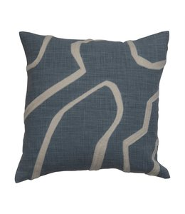 Bloomingville Square Embroidered Cotton Pillow, Blue & Cream Color