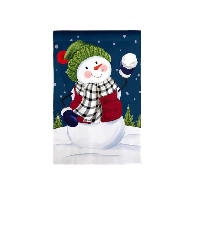 Evergreen Snow Fun House Applique Flag