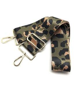 Thomas & Lee Company Olive Green Cheetah Bag Strap