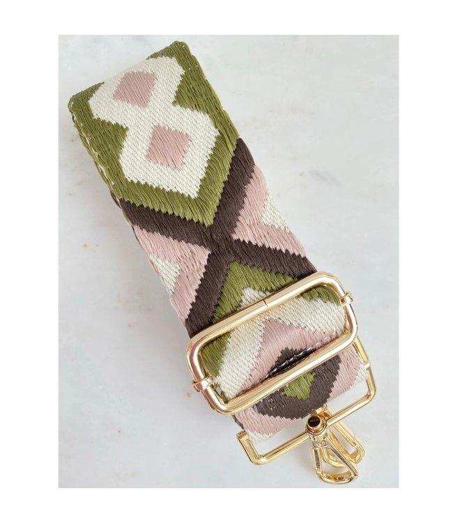 Thomas & Lee Company Pink and Green Boho Bag Strap