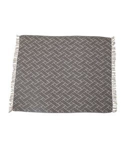 Bloomingville Woven Recycled Cotton Blend Throw Blanket with Fringe