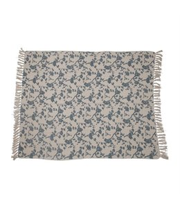 Bloomingville Recycled Cotton Blend Printed Throw with Floral Print & Fringe