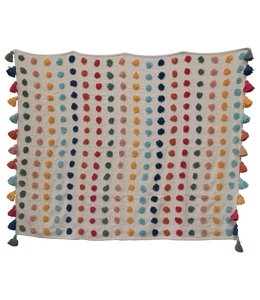 Creative Co-Op Woven Cotton Throw with Tufted Dots & Tassels, Multicolored