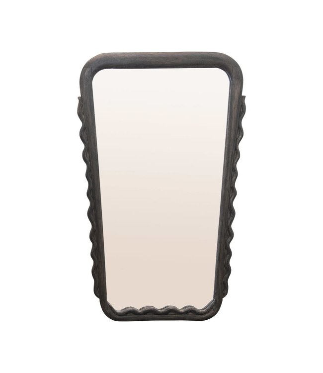 Creative Co-Op Mango Wood Framed Wall Mirror with Scalloped Trim, Black