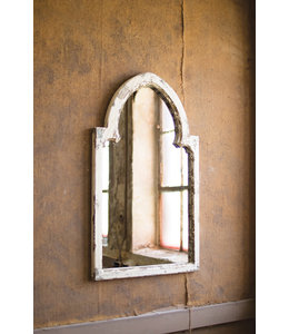 Kalalou White Wood Framed Mirror with Gold Accent