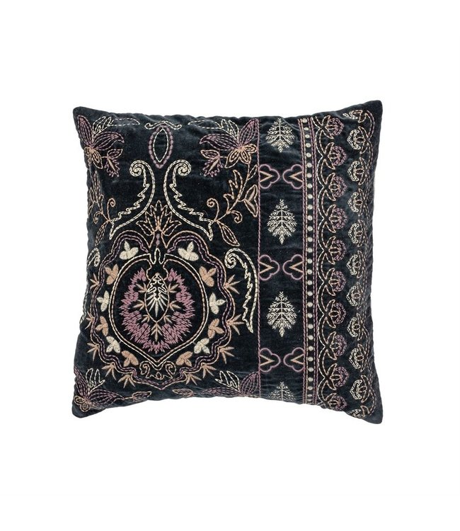 Bloomingville Cotton Velvet Pillow with Embroidery