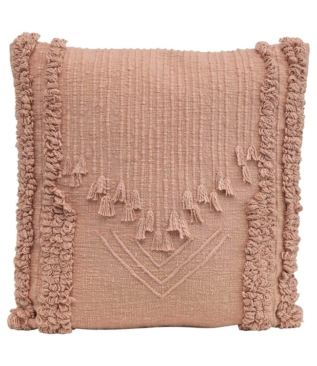 Creative Co-Op Cotton Embroidered Pillow w/ Applique & Fringe