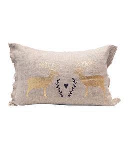 Creative Co-Op Linen Lumbar Pillow w/ Deer