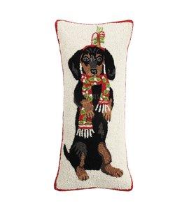 Peking Handicraft Dachshund Dog With Scarf Hook Pillow