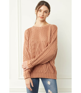 Entro Terra Cotta Cable Knit Sweater