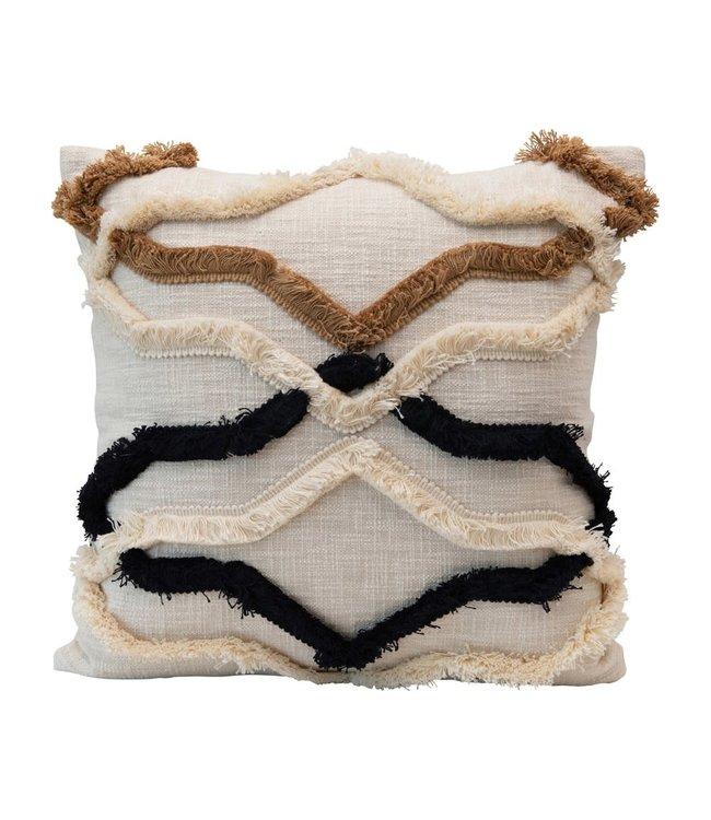"Creative Co-Op 20"" Square Cotton Lumbar Pillow w/ Appliqued Fringe Pattern, Multi Color"