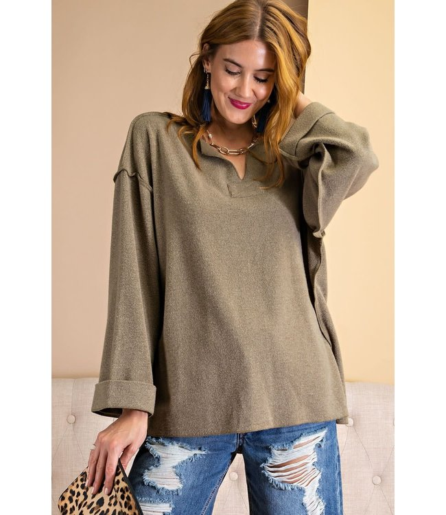 Easel Brushed Knit Pullover - Faded Olive