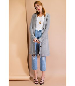 Easel Long Knitted Button Cardigan