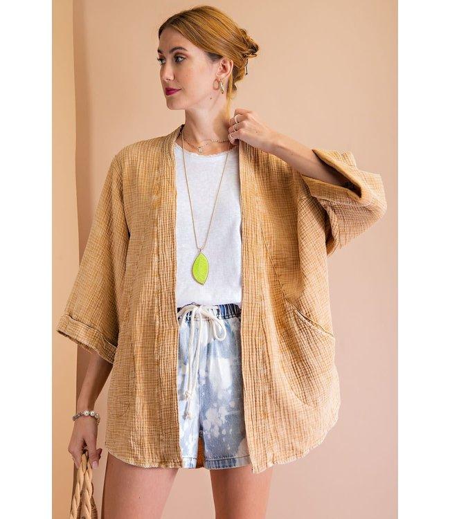 Easel Cotton 3/4 Sleeve Jacket