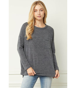 Entro Charcoal Heathered Long Sleeve Top