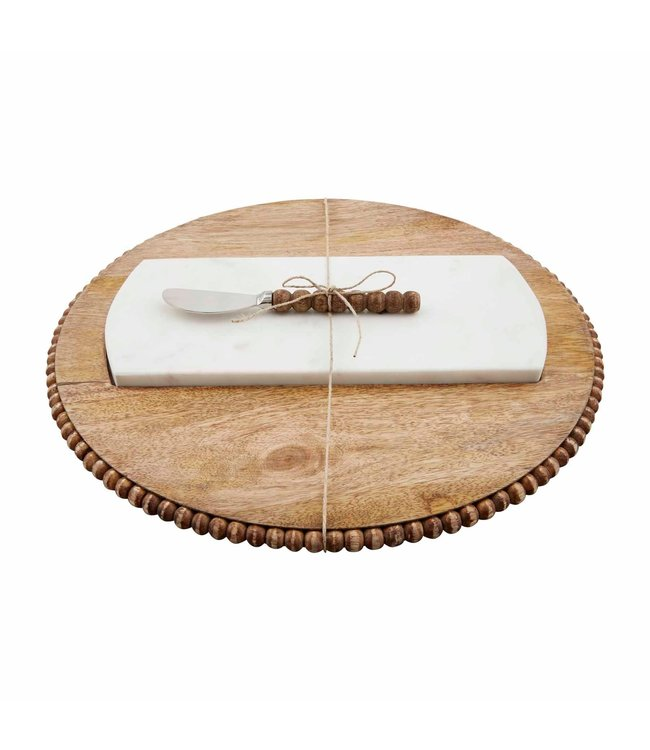 MudPie Marble and Wood Serving Board Set