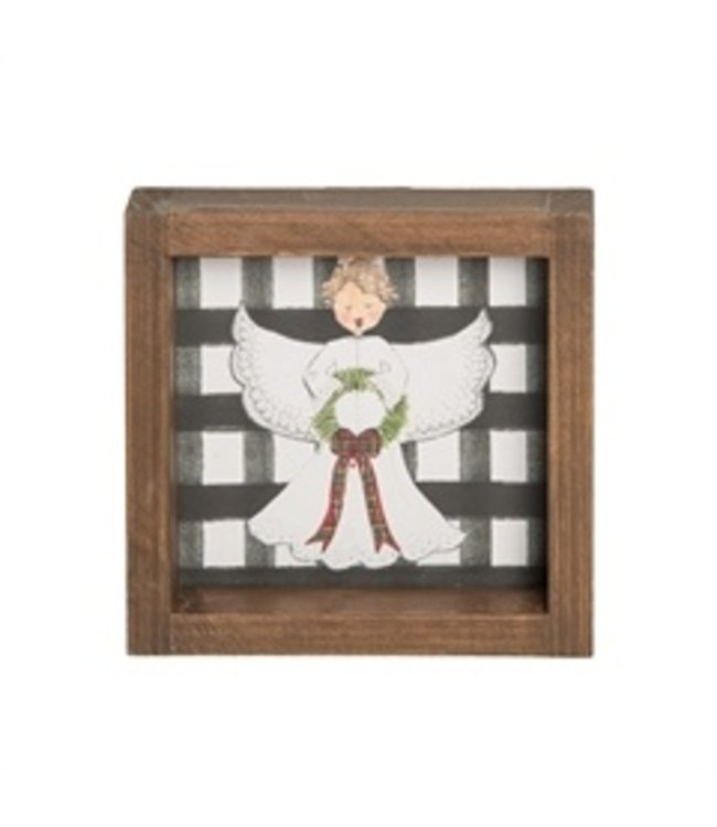 C&F Home Black Check Angel Wooden Sitter