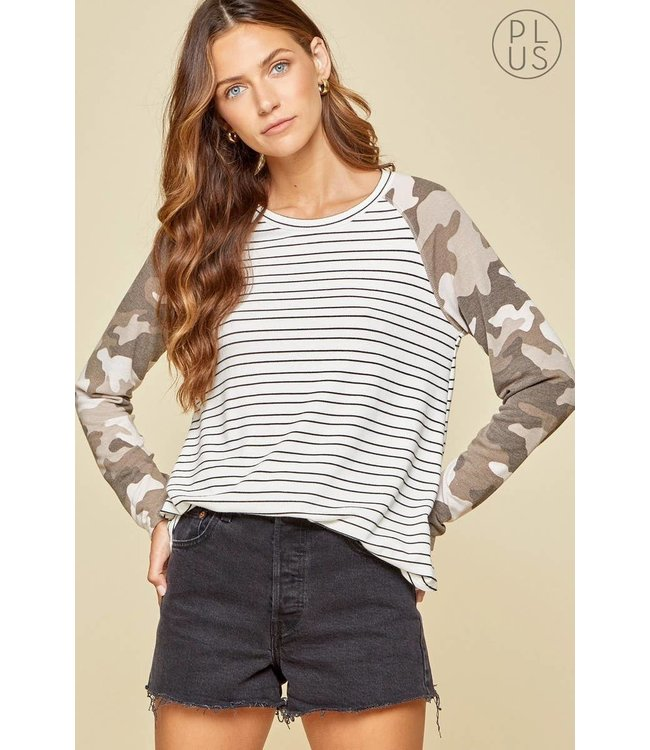 Andree Knit Top with Camo Stripe