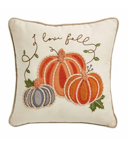 MudPie Square Embroidered Pumpkin Pillow