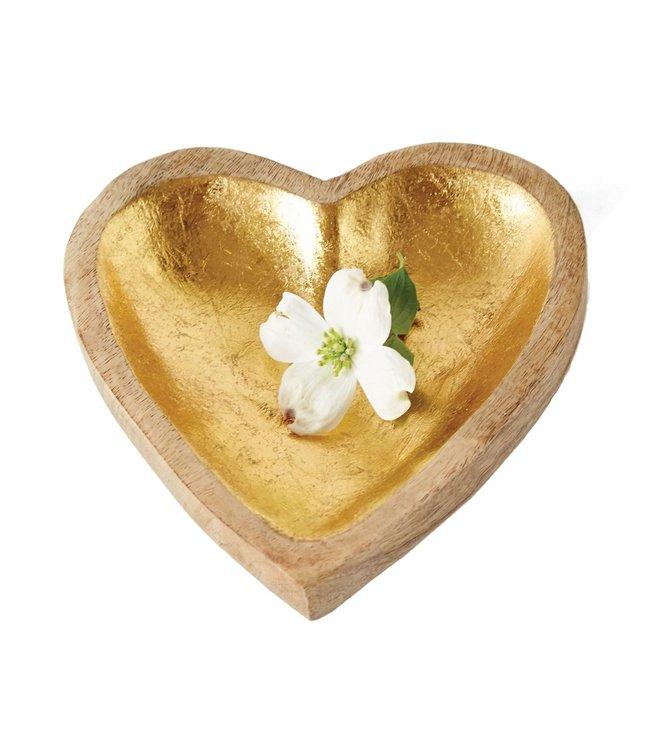 Creative Co-Op Mango Wood Heart Tray, Gold Leaf Inside