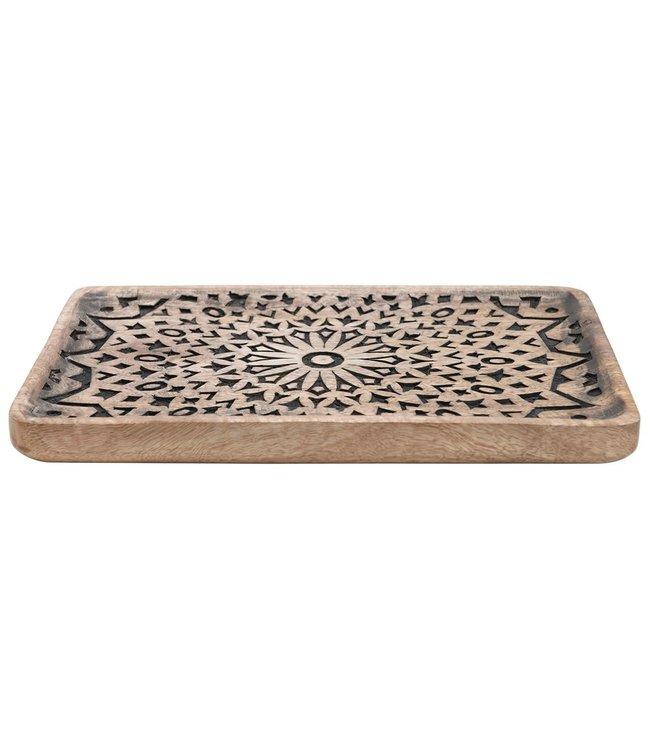 Creative Co-Op Hand-Carved Mango Wood Tray