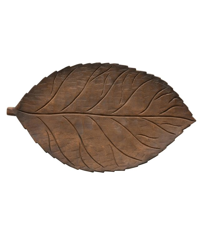 Creative Co-Op Hand-Carved Mango Wood Leaf Tray