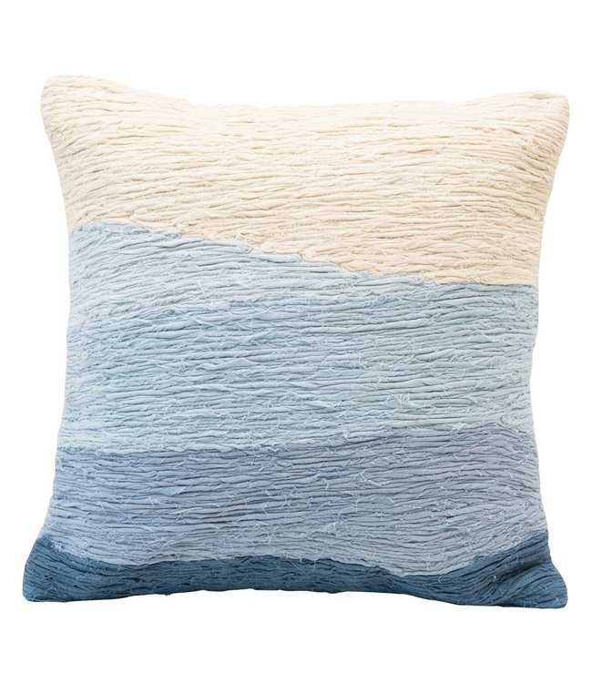 """Creative Co-Op 18"""" Square Cotton Appliqued Pillow w/ Wave, Blue Ombre"""