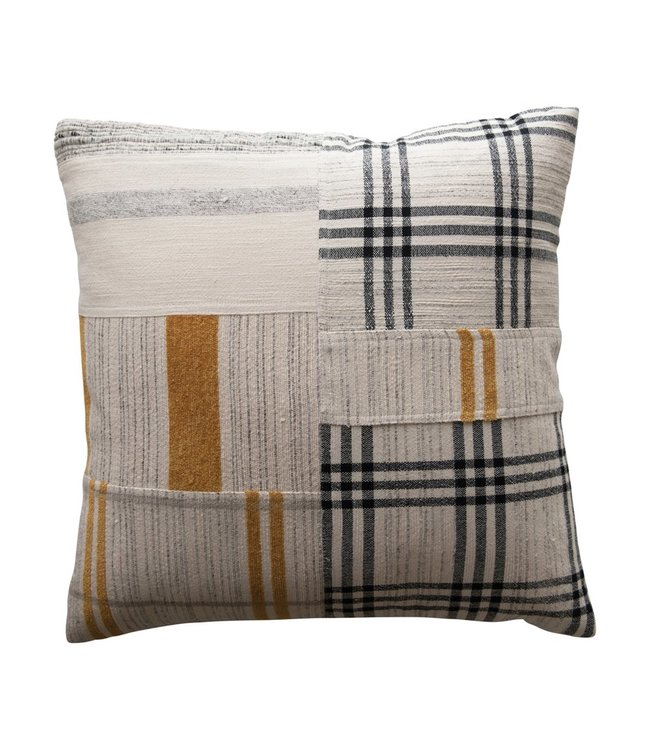 """Creative Co-Op 20"""" Square Woven Cotton & Wool Patchwork Pillow, Black & Mustard Color"""