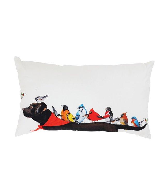 Creative Co-Op Cotton Pillow w/ Birds on Dog