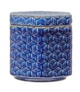 Creative Co-Op Debossed Decorative Stoneware Jar with Lid & Pattern, Distressed Crackle Glaze, Blue