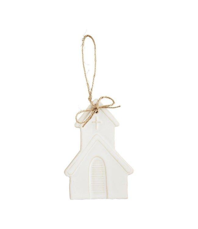 MudPie Church White Glazed Ornament