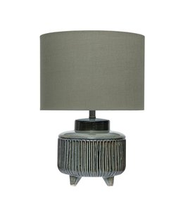 Creative Co-Op Stoneware Footed Table Lamp w/ Linen Shade, Green Reactive Glaze(Each Varies)